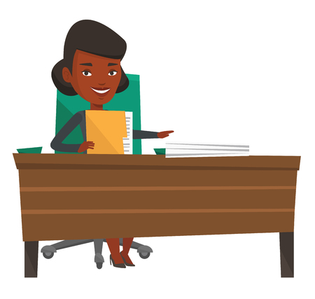 An african office worker working with documents. Office worker sitting at the table with documents. Office worker inspecting documents. Vector flat design illustration isolated on white background.  イラスト・ベクター素材