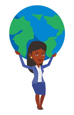 Afrikaanse bedrijfsvrouw die grote Aardebol over haar hoofd houdt. Onderneemster die aan globale zaken deelneemt. Concept van wereldwijde business. Vector platte ontwerp illustratie op een witte achtergrond. Stock Illustratie