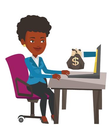 ビジネスの女性は、オフィスでラップトップから出てくるお金の袋の作業します。女性のオンライン ビジネスからお金を稼ぐします。オンライン ビ
