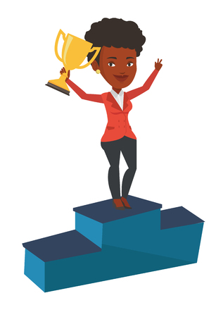 An african businesswoman with business award standing on a pedestal. Businesswoman celebrating her business award. Business award concept. Vector flat design illustration isolated on white background.