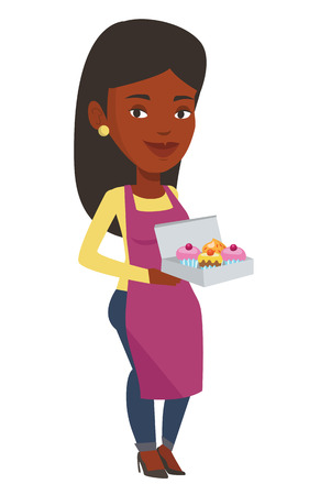 African-american delivery woman holding a box of cakes. Baker delivering cakes. Young delivery woman with cupcakes. Food delivery service. Vector flat design illustration isolated on white background.