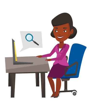 African-american businesswoman working on a laptop in office and searching information on internet. Internet search and job search concept. Vector flat design illustration isolated on white background