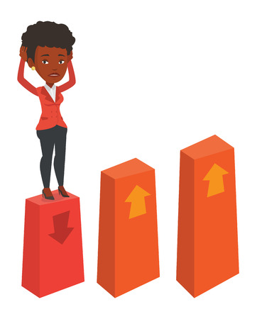 An african frightened bankrupt business woman clutching his head. Bankrupt standing on chart going down. Concept of business bankruptcy. Vector flat design illustration isolated on white background.
