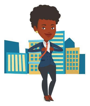 African business woman superhero. Business woman opening her jacket like superhero. Business woman taking off her jacket like superhero. Vector flat design illustration isolated on white background.