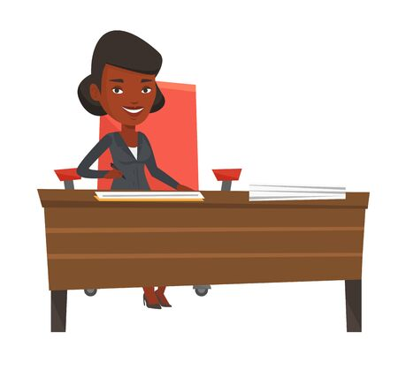 Businesswoman signing contract in office. Woman is about to sign a business contract. Confirmation of transaction by signing of contract. Vector flat design illustration isolated on white background.