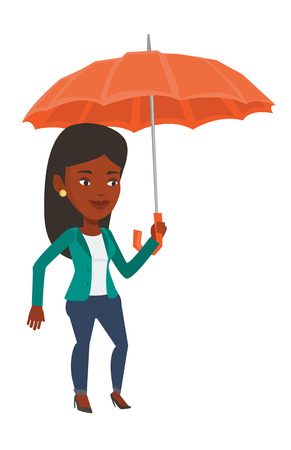 An african cheerful insurance agent. Insurance agent standing safely under umbrella. Business insurance and business protection concept. Vector flat design illustration isolated on white background. Illustration