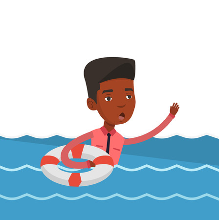 Afraid african businessman with lifebuoy sinking. Frightened businessman sinking and asking for help. Concept of failure in business. Vector flat design illustration isolated on white background.