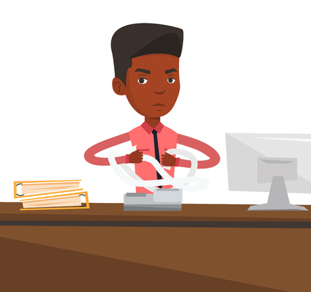 printout: An african-american business man sitting in office and tearing furiously bills. Young angry business man calculating bills. Vector flat design illustration isolated on white background. Illustration