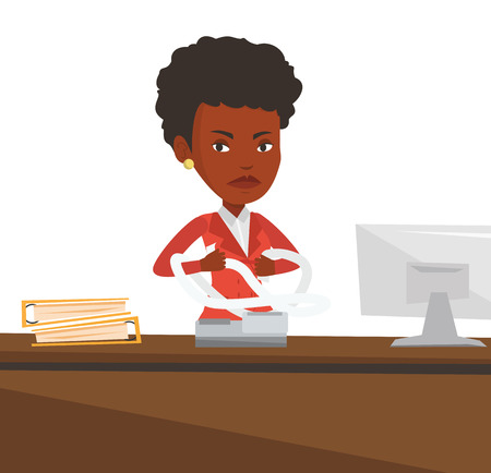 An african-american business woman sitting in office and tearing furiously bills. Young angry business woman calculating bills. Vector flat design illustration isolated on white background.