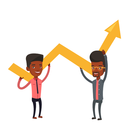 teamwork cartoon: Two african-american businessmen holding growth graph. Cheerful business team with growth graph. Concept of business growth and teamwork. Vector flat design illustration isolated on white background. Illustration