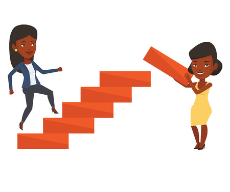 teamwork cartoon: Woman runs up the career ladder while another woman builds this ladder. Businesswoman climbing the career ladder. Business career concept. Vector flat design illustration isolated on white background.