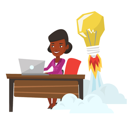 African businesswoman working on a laptop in office and idea bulb taking off behind her. Woman having business idea. Business idea concept. Vector flat design illustration isolated on white background Illustration
