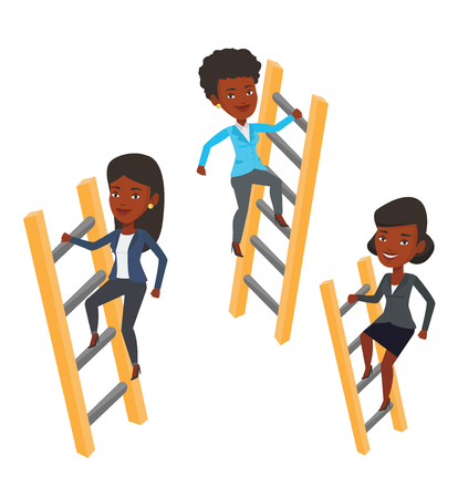 stair climber: African-american business people climbing the ladders. Businesswomen climbing to success. Concept of success and competition in business. Vector flat design illustration isolated on white background.