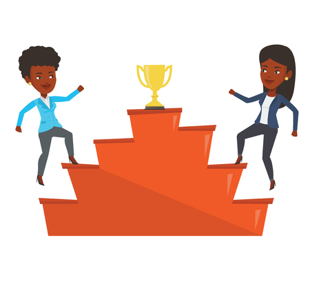 Two businesswomen competing to get golden trophy. Competitive businesswomen running up for the winner cup. Business competition concept. Vector flat design illustration isolated on white background. Illustration