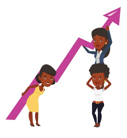 teamwork cartoon: Three african-american businesswomen holding growth graph. Business team with growth graph. Concept of business growth and teamwork. Vector flat design illustration isolated on white background