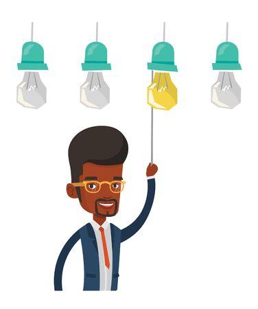 Afro-amerikanische Geschäftsmann Einschalten Idee Glühbirne Hängt ...