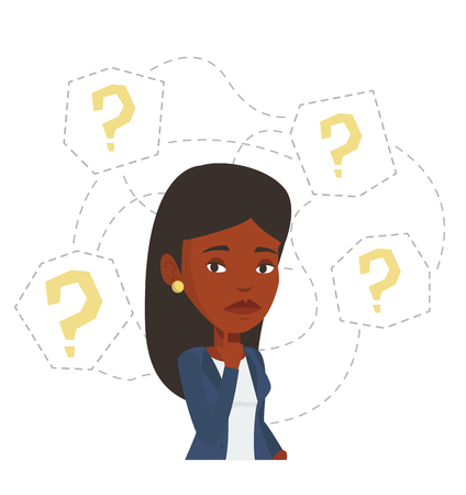 African-american businesswoman thinking. Thinking businesswoman standing under question marks. Thinking woman surrounded by question marks. Vector flat design illustration isolated on white background Illustration