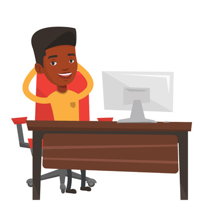 Zufrieden Geschäftsmann im Büro sitzen am Arbeitsplatz. Glücklicher Geschäftsmann im Büro mit den Händen hinter dem Kopf verschränkt entspannen. Vector flache Design-Darstellung auf weißem Hintergrund. Standard-Bild - 83336211
