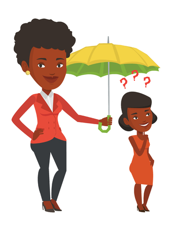 insure: Insurance agent holding umbrella over young woman. African woman standing under umbrella and question marks. Concept of business insurance. Vector flat design illustration isolated on white background