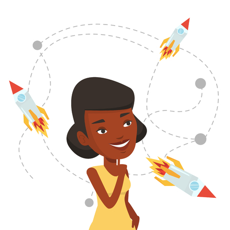came: African-american woman looking at flying business rockets. Woman came up with an idea for a business startup. Business startup concept. Vector flat design illustration isolated on white background.