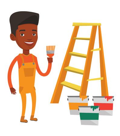 家の画家が絵筆を保持します。ステップはしごとペイント近くに立っている絵筆を持つ家画家缶します。住宅改修のコンセプトです。ベクトル フラ