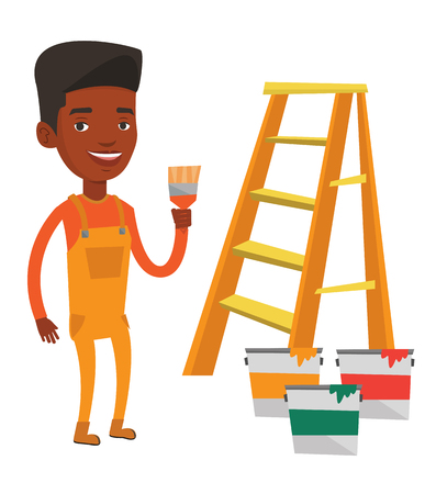 Schilder die een penseel houdt. Huisschilder met penseel die zich dichtbij ladder en verfblikken bevinden. Concept van huisrenovatie. Vector platte ontwerp illustratie op een witte achtergrond. Stock Illustratie