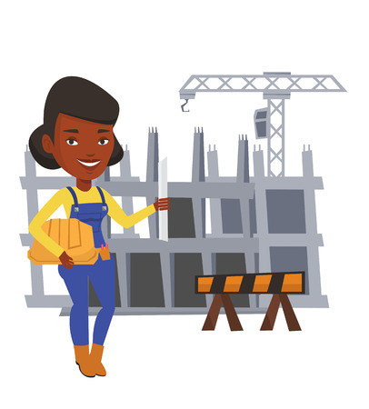 building site: African-american engineer with a blueprint. Engineer holding a twisted blueprint and hard hat. An engineer checking construction works. Vector flat design illustration isolated on white background.