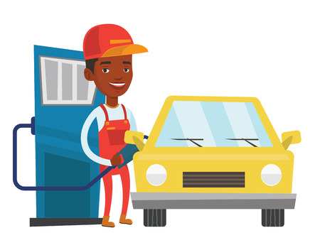 African-american gas station worker refueling a car. Gas station worker filling up fuel into car. Worker in workwear at the gas station. Vector flat design illustration isolated on white background.
