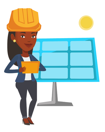 African-american worker of solar power plant. Engineer working on digital tablet at solar power plant. Engineer checking solar panel setup. Vector flat design illustration isolated on white background