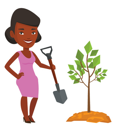 pit: An african man plants a tree. Man standing with shovel near newly planted tree. Young man gardening. Environmental protection concept. Vector flat design illustration isolated on white background.