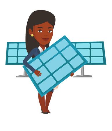 Lavoratore afroamericano della centrale elettrica solare. Donna che tiene il pannello solare nelle mani. Donna con pannello solare nelle mani. Concetto di energia verde. Vector design piatto illustrazione isolato su sfondo bianco. Archivio Fotografico - 83336414