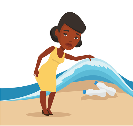 Sad woman showing plastic bottles under water of sea. Woman collecting plastic bottles from water. Water and plastic pollution concept. Vector flat design illustration isolated on white background.