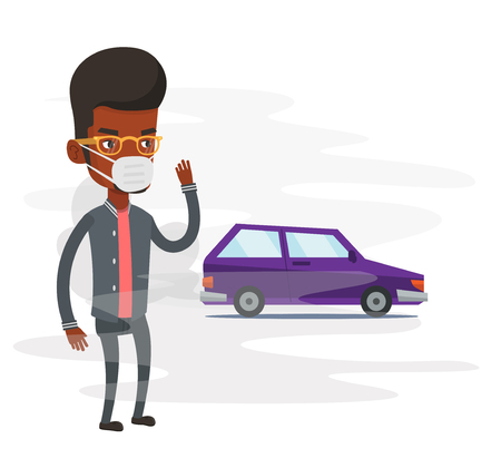 An african-american man standing on the background of car with traffic fumes. Man wearing mask to reduce the effect of traffic pollution. Vector flat design illustration isolated on white background.