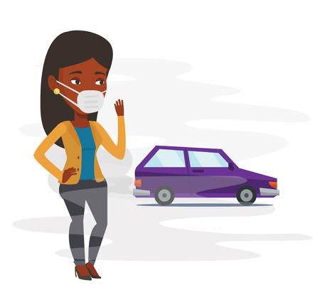 Mujer afroamericana de pie en el fondo del coche con los humos del tráfico. Mujer con máscara para reducir el efecto de la contaminación del tráfico. Vector de diseño plano ilustración aislado sobre fondo blanco. Foto de archivo - 83336437