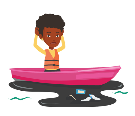 Sanitation worker floating in boat in polluted water. Woman clutching head while looking at polluted water. Concept of water pollution. Vector flat design illustration isolated on white background. Illustration