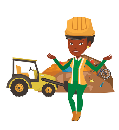 African-american worker of rubbish dump standing with spread arms. Young woman standing on the background of rubbish dump and bulldozer. Vector flat design illustration isolated on white background.