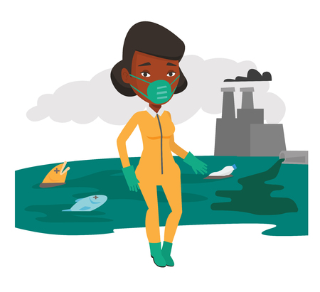 An african-american woman in gas mask and radiation protective suit standing on the background of nuclear power plant. Vector flat design illustration isolated on white background. Illustration