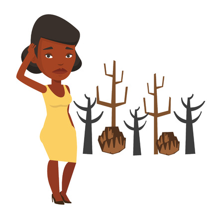 An african-american young sad woman scratching head on the background of dead forest. Dead forest caused by global warming or wildfire. Vector flat design illustration isolated on white background.