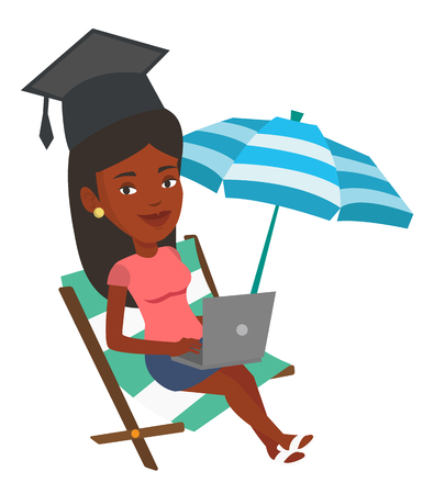 woman laptop: Graduate lying in chaise lounge. Graduate in graduation cap working on a laptop. Graduate studying on beach. Online education concept. Vector flat design illustration isolated on white background. Illustration