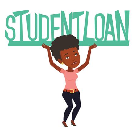 donna africana che tiene segno pesante di prestiti agli studenti. Donna faticosa che trasportano segno pesante - studente prestito. Concetto del costo elevato di prestiti agli studenti. Vector design piatto illustrazione isolato su sfondo bianco