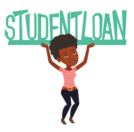 African woman holding heavy sign of student loan. Tired woman carrying heavy sign - student loan. Concept of the high cost of student loan. Vector flat design illustration isolated on white background Illustration