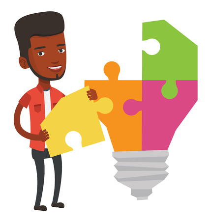 African student standing near the light bulb. Young student takes apart light bulb made of puzzle. Smiling student having a great idea. Vector flat design illustration isolated on white background.