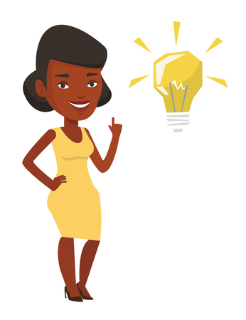 An african-american student pointing his finger up at the idea bulb. Excited student with bright idea bulb. Student having a great idea. Vector flat design illustration isolated on white background. Illustration