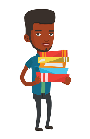 African-american man holding a pile of educational books in hands. Student carrying huge stack of books. Student holding pile of books. Vector flat design illustration isolated on white background.