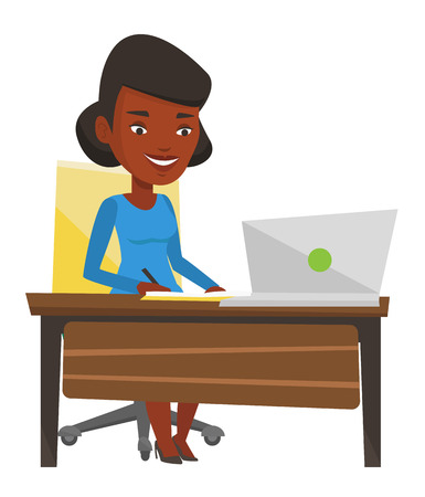 African-american woman working on laptop and writing notes. Student sitting at the table with laptop. Student using laptop for education. Vector flat design illustration isolated on white background.