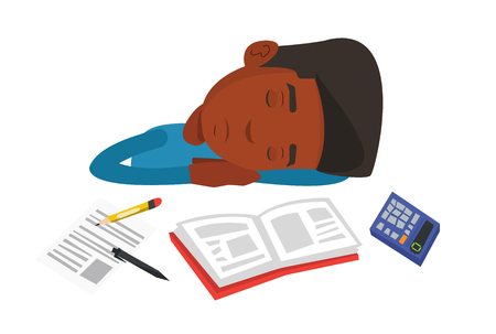 Fatigued african student sleeping at the desk with books. Tired student sleeping after learning. Man sleeping among books at the table. Vector flat design illustration isolated on white background. Illustration