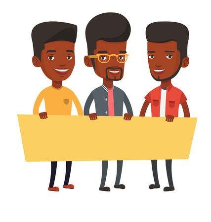 teamwork cartoon: Three young african-american men holding blank board. Group of young students holding an empty board. Group of friends showing board. Vector flat design illustration isolated on white background.