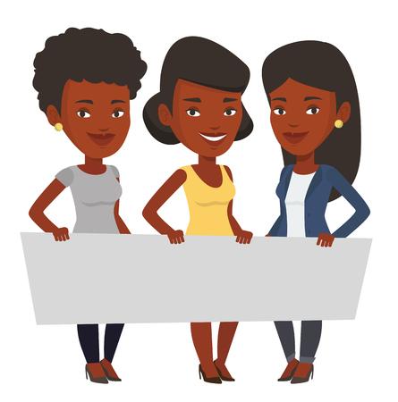 Drie jonge Afro-Amerikaanse vrouwen die leeg bord. Groep jonge studenten die een lege raad houden. Groep vrienden die raad tonen. Vector platte ontwerp illustratie op een witte achtergrond.