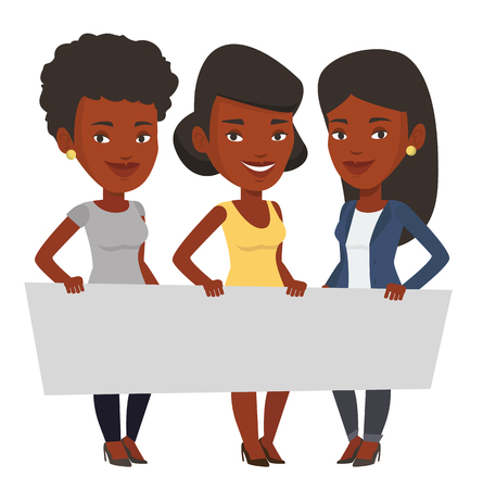 Three young african-american women holding blank board. Group of young students holding an empty board. Group of friends showing board. Vector flat design illustration isolated on white background. Иллюстрация