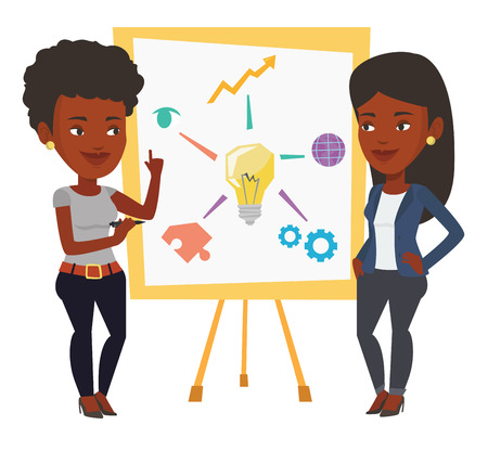 Two african businesswomen discussing a project. Group of businesswomen working on project. Businesswoman drawing business project on board. Vector flat design illustration isolated on white background